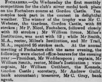 Fochabers Golf Club, Gordon Castle, Elgin, Moray. The annual meeting in April 1894.
