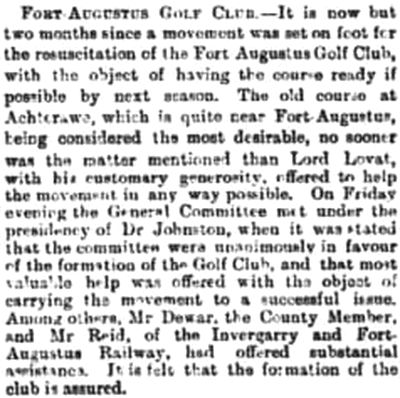 Fort Augustus Golf Club, Highland. Evidence in 1903 of an earlier golf club.