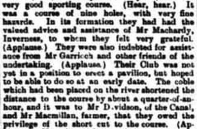 Fort Augustus Golf Club, Highland. An extract from a report on the opening of the course in July 1904.