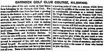 Garnock Golf Club, Kilburnie, Ayrshire. Report from November 1908 on the new club and course..