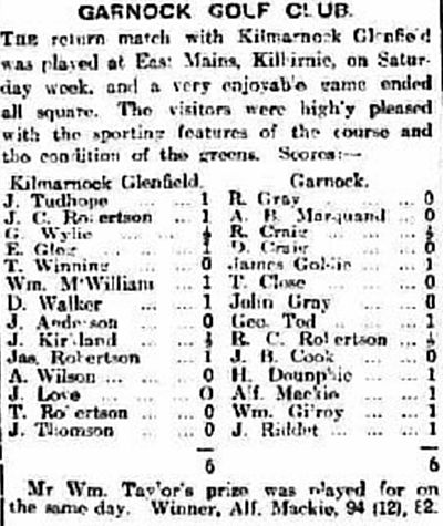 Garnock Golf Club, Kilburnie, Ayrshire. Competition results from July 1910..