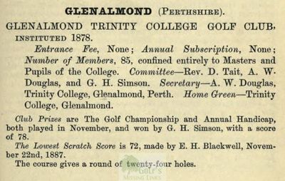 Glenalmond College Golf Course, Perth & Kinross. Extract from Golfing Annual 1888/89.