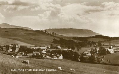 Glenfarg Golf Club, Perthshire. The town from the golf course.