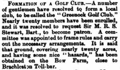 Greenock Golf Club, Inverclyde. Formation of  the club March 1873.