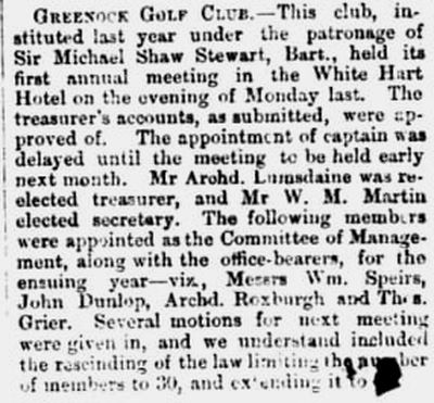 Greenock Golf Club, Inverclyde. The first annual meeting in 1874.
