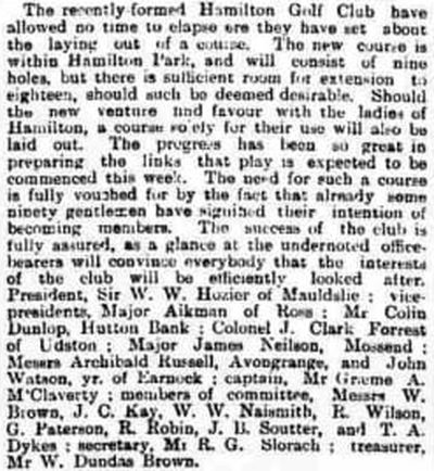 Hamilton Golf Club, South Lanarkshire. A report on the new Hamilton Golf Club in August 1892.