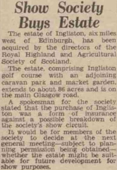 Ingliston Golf Club, Newbridge, Edinburgh. Notification of the sale of the golf course in April 1958.