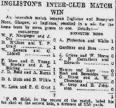Ingliston Golf Club, Newbridge, Edinburgh. Result of a match against Bonnyton Moor played in April 1939.