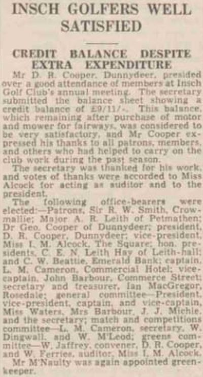 Insch Golf Club, Aberdeenshire. Report on the annual meeting in March 1938.