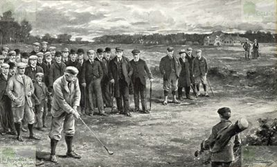 Insurance and Banking Golf Club, Edinburgh. Foursome match at Duddingston in March 1898.