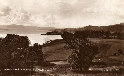 Inveraray Golf Club, Argyll. The golf course and Loch Fyne.