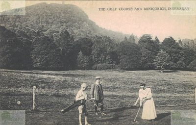 Inveraray Golf Club, Argyll & Bute. Early postcard of golfers on the Inveraray course.