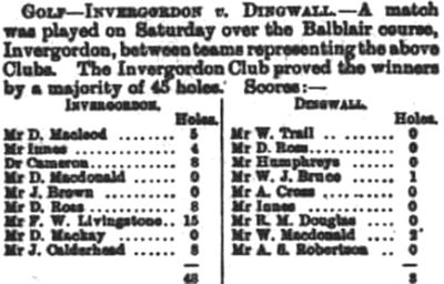 Dingwall Golf Club, Highland. Report on a match against Invergordon in March 1896.