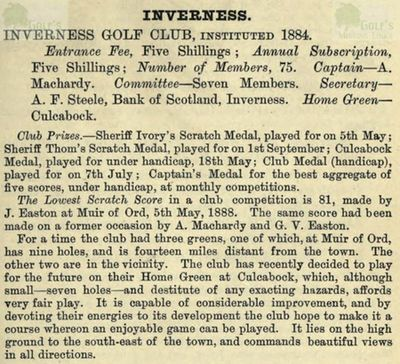 Inverness Golf Club. Entry from the Golfing Annual 1888/89.