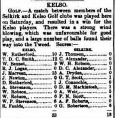 Kelso Golf Club, Friars Haugh. Result of a match against Selkirk in 1888.
