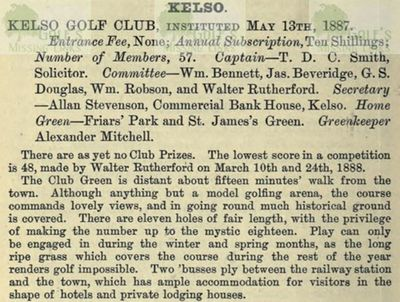 Kelso Golf Club, Friars Haugh. Entry from The Golfing Annual 1888/89.