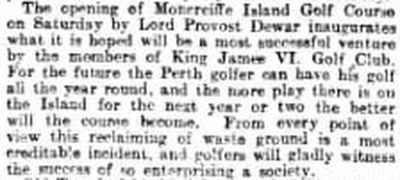 King James V1 Golf Club, North Inch, Perthshire. Report on the move to Moncreiffe Island in June 1897.