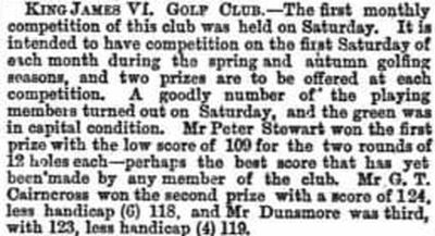 King James V1 Golf Club, North Inch, Perthshire. Result of the first monthly medal in March 1875.