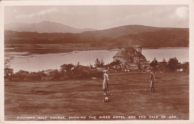 Kippford Golf Club, Dumfries & Galloway. Pines Hotel from the course.