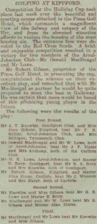 Kippford Golf Club, Dumfries and Galloway. Competition result from August 1917.