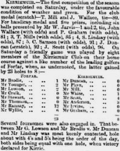 Kirriemuir Golf Club, Forfar. Competitions and matches played in May 1889.