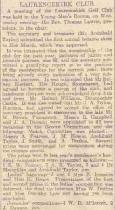 Laurencekirk Golf Club, Aberdeenshire. Report on the annual meeting in May 1913.