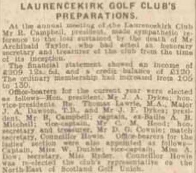 Laurencekirk Golf Club, Aberdeenshire. Report on the annual meeting in March 1923.