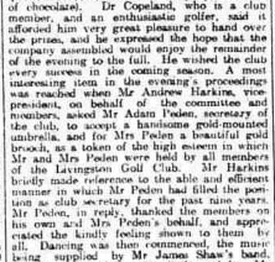 Livingston Golf Club, West Lothian. A Whist Drive and Dance in March 1921.