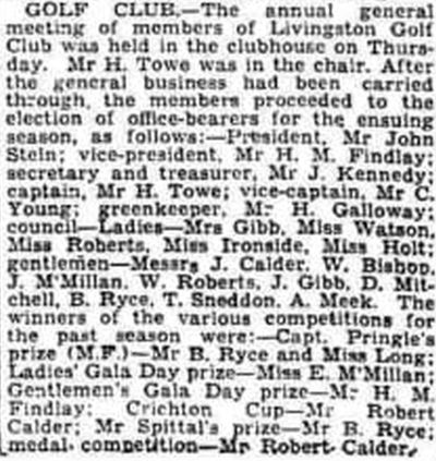 Livingston Golf Club, West Lothian. Annual General Meeting held in October 1938.