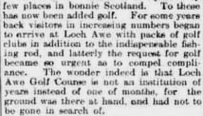 Lochawe and Dalmally Golf Club, Argyll & Bute. Report from April 1907 mentioning the golf course.