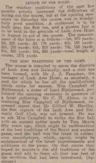 Lochawe and Dalmally Golf Club, Argyll & Bute. Report on the opening of the golf course in June 1907.