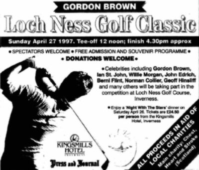 Loch Ness Golf Club, Fairways Business Park, Inverness. Advert for the Loch Ness Classic in April 1897.
