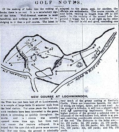 Lochwinnoch Golf Club, Renfrewsire. Article from the Evening Times in December 1898.