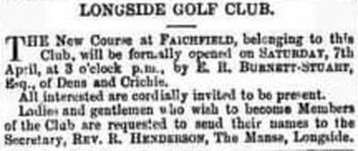 Longside Golf Club, Aberdeenshire. The new course at Faichfield  in 1906.