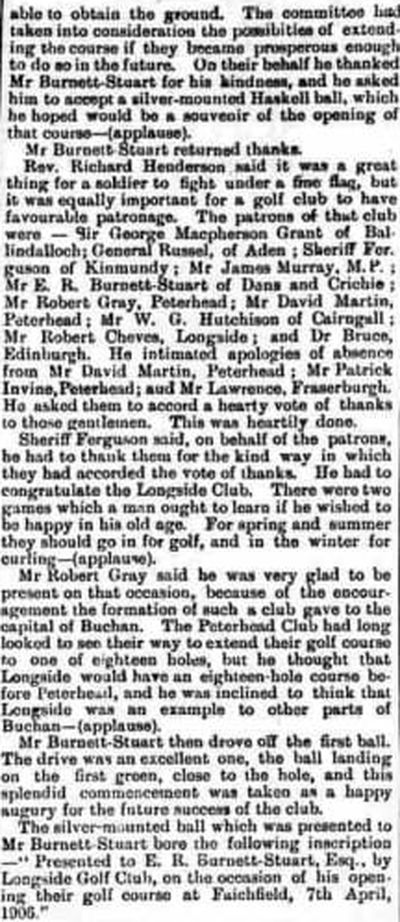 Longside Golf Club, Aberdeenshire. Description and opening of the course in April 1906.