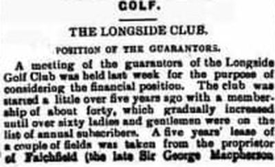 Longside Golf Club, Aberdeenshire. Report on the club from December 1911.