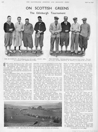 Lothianburn Golf Club, Edinburgh. From Illustrated Sporting Dramatic News April 1936.