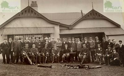Lothianburn Golf Club, Edinburgh. Group photograph prior to the first competition for the Coronation Cup in 1902.