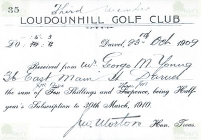 Loudon Hill Golf Club, Ayrshire. Receipt for membership for George M Young 1909.