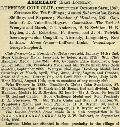 Luffness Old Golf Club, Aberlady, East Lothian. Entry from the 1888/89 Golfing Annual.
