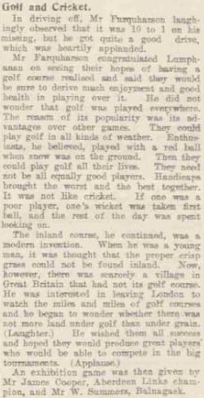 Lumphanan Golf Club, Aberdeenshire. Report on the opening of the golf course in July 1923.