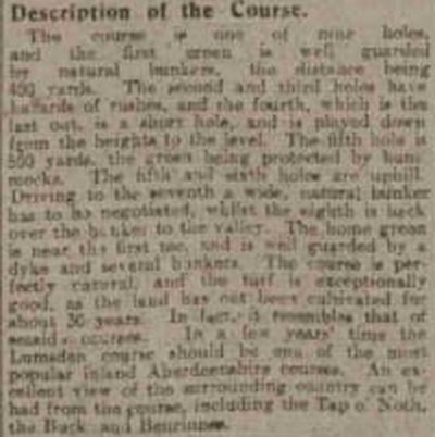 Lumsden Golf Club, Aberdeenshire. Report on the opening in July 1920.