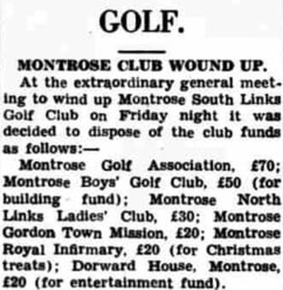 Montrose Ladies' South Links Golf Club. Montrose South Links Golf Club Wound Up May 1951.