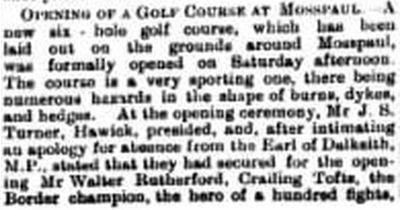 Mosspaul Golf Club, Scottish Borders. Opening of the golf course in September 1900.