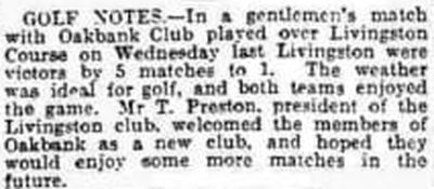 Oakbank Golf Club, Mid Calder. Result of a match against Livingston in June 1931.