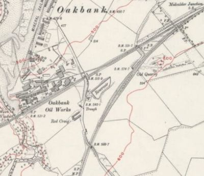 Oakbank Golf Club, Mid Calder. Red Bank, location of the course is marked on the early 1920s map.