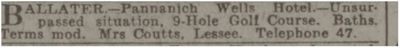 Pannanich Wells Hotel Golf Course, Ballater. Advert for the hotel in September 1927.