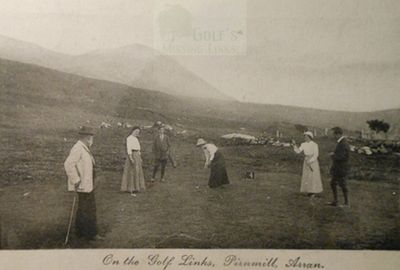 Pirnmill Golf Club, Arran. Early postcard of players on the Pirnmill course.
