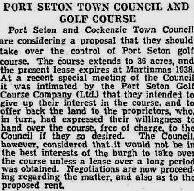 Port Seton Golf Club, Cockenzie, East Lothian. Report on the future of the golf course in December 1935.