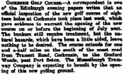 Port Seton Golf Club, Cockenzie, East Lothian. Report on the new course in April 1912.